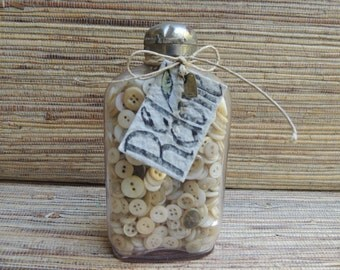 Vintage Button Treasure Bottle by Redone, Mother of Pearl Buttons