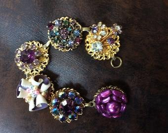 Fancy Purple Rhinestone Earring Bracelet