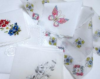 Wedding   Handkerchiefs , Vintage Hankies   ,  Hanky ,  Batiste  Embroidery  Pink   Handkerchiefs  - set of 5.