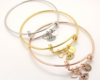 Evil Eye Bracelet • Evil Eye Bangle • Initial Bangle • Bridesmaid Gift • Greek Jewelry • Lucky Eye Bracelet• Custom Bangle • Women Gifts