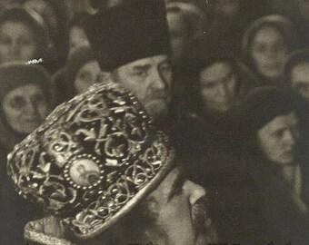 Russia Russian Orthodox gathering antique art photo
