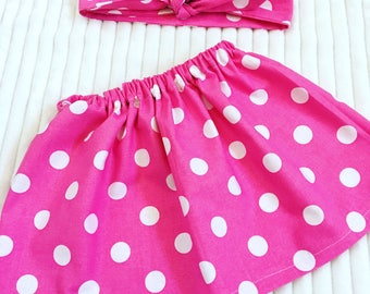 Girls Skirt Sets, Girls Skirt Outfits, Girls Welcome Home Outfit, Girls Pink And White Polka Dot Skirt Outfit, Baby Girl Skirt Outfit