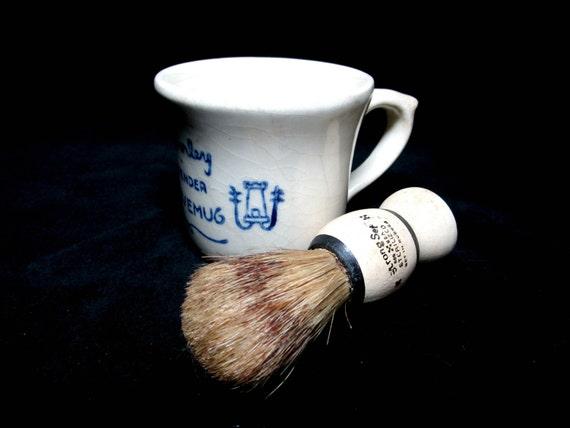 Vintage Shaving Mug and Brush, Strong Set Sterilized Shaving Brush, Waverley Lavender Shavemug