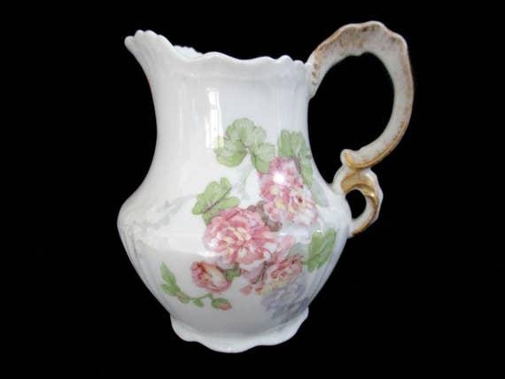 Antique Limoges Creamer, Cream Pitcher, Jean Pouyat, JPL Limoges, Pink Carnations, Pink Floral Limoges Creamer