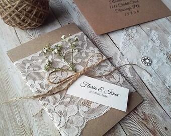 Rustic Wedding Invitation with Dry Baby Breath / Rustic Invitation / Lace invitation / Handmade Invitation