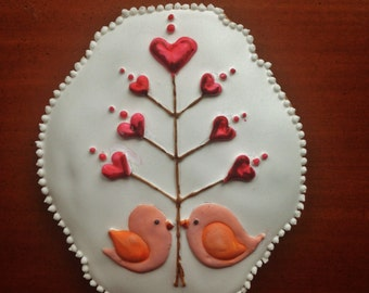 Hungarian gingerbread Valentine's Day Cookie.Birdies with tree of love
