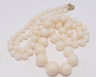Elegant Graduated Strand Angelskin Coral Beads Necklace