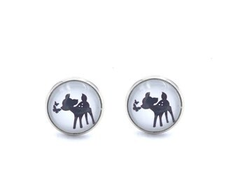 Deer earrings earrings 12 mm silver