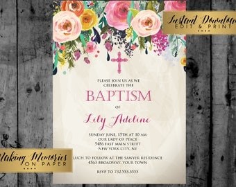 Baptism Invitation,  Watercolor Flowers Baptism, Christening, Dedication ,First Communion, INSTANT DOWNLOAD, print yourself, sfc, floral