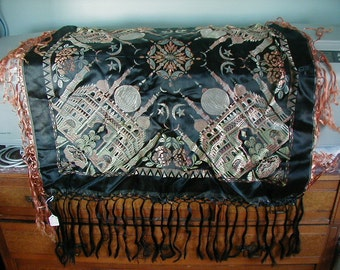 Lovely World War II scarf or shawl.  Fantastic design and colors.