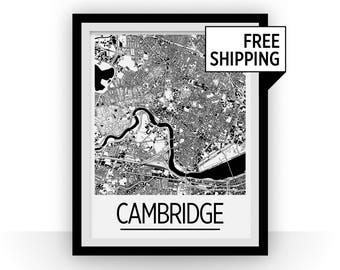 Cambridge MA Map Poster - Massachussetts Map Print - Art Deco Series