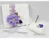 Wedding Lace Guest Book Pen Holder Set Jeweled Birthday Book Bridal Brooch Guest Books Signature Book in White, Purple, Lavender