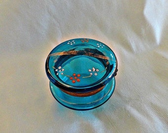 Antique Glass Vanity Dresser Jar, Enamel Lid Bohemian Jar, Czech Enamel Glass Jar Box