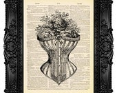 Corset with Roses - ORIGINAL ARTWORK - Dictionary Art Print Vintage Upcycled Antique Book Page no.308