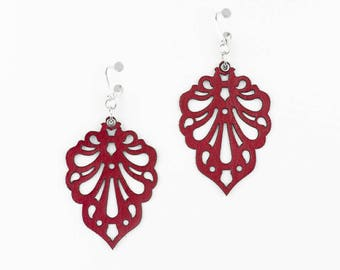 """Laser cut leather earrings """"Teardrops"""" design in Red,Purple and Turquoise"""