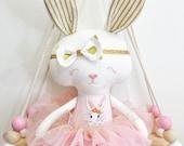 Wonderland Bunny Doll || Handmade Heirloom Bespoke Treasure Keepsake Baby Girls Dolly Decor Gift