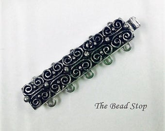Claspgarten 5 strand Scroll Clasp, palladium plated antiqued, high quality German made slide clasp, 31 x 7mm, slide tongue mechanism