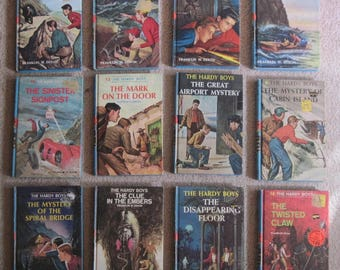 Lot 12 Hardy Boys Mysteries Hard Cover Mystery Books by Franklin W Dixon 1960s Blue Spine #2 3 4 7 8 9 13 15 18 19 35 45