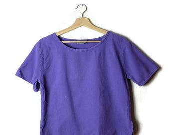 Vintage Purple Short sleeve Cotton top/Blouse from 90's *