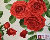 Red Rose Clusters, White Background, Glamour Collection by Chong A. Hwang for Timeless Treasures, Quilt or Craft Fabric, Fabric by the Yard.