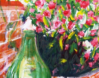 Tuscan Urn acrylic painting on 16 x 20 stretched canvas, Italian art, vase still life painting, flower acrylic painting