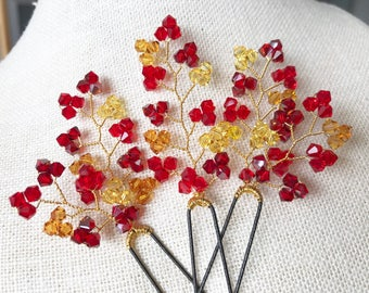 Bridal Red Hair Pins, Set of 3 HA20158