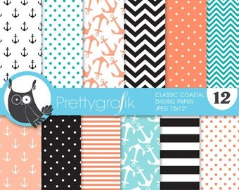 80% OFF SALE classic coastal digital paper, commercial use, scrapbook papers, background, anchors, nautical - PS628
