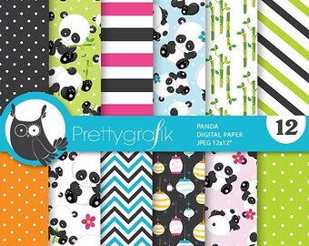 80% OFF SALE Panda digital papers, Baby Panda commercial use, asian scrapbook papers, paper lanterns background  - PS790