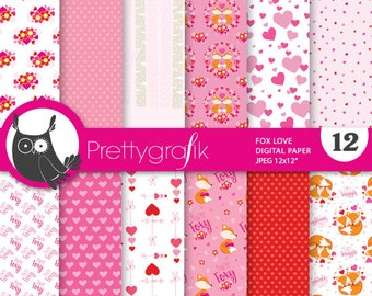 80% OFF SALE Valentine digital papers, commercial use, fox scrapbook papers, valentine papers, ...