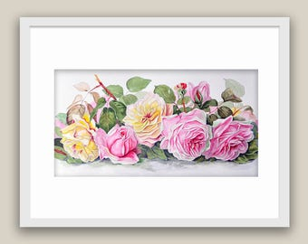 Watercolor Roses Home Living Still Life Yellow and Pink roses