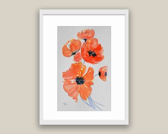 Poppies Watercolor Poppies Home Living Still Life new