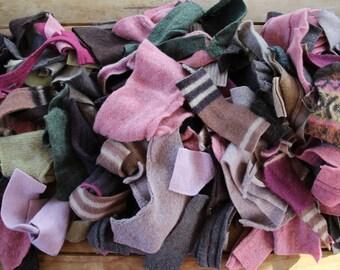 Wool Off Cuts, Scraps. Craft Supplies. Proggy Matting. Wool pieces. Recycled Knitwear. Pink Brown Beige Green. Sewing. Fiber Fibre Craft.