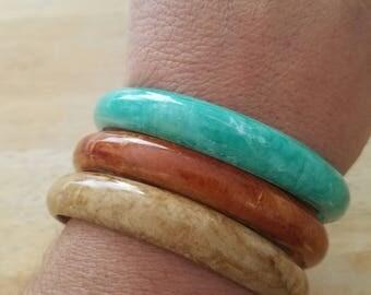Vintage Set Of 3 Plastic Variety Colors  Bangle Bracelet