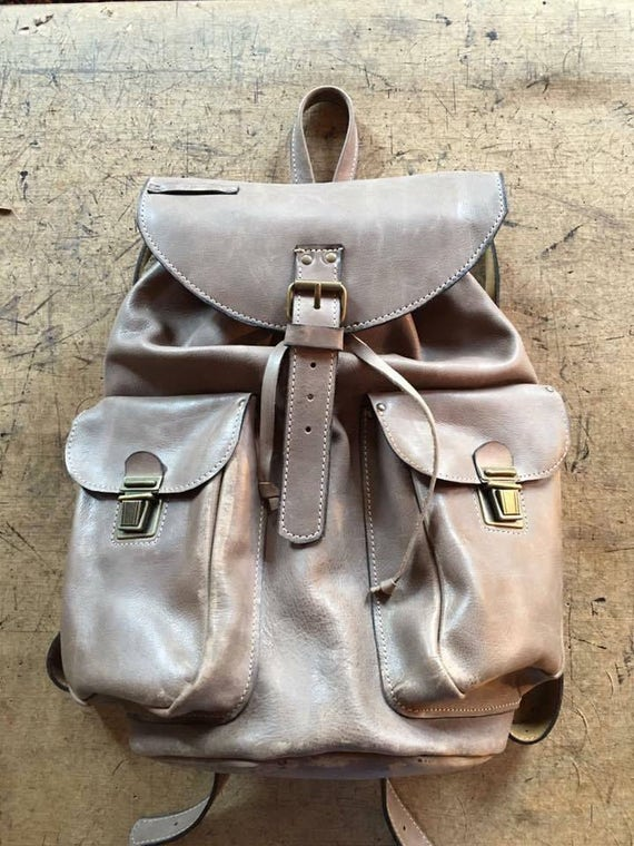 Brown-Taupe Leather BackPack, School BackPack, Travel BackPack, Handmade BackPack,  Man Overnight BackPack, Travel Bag, School BackPack
