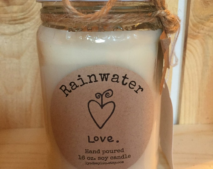 Hand Poured, RAINWATER scented, 100% Soy Candle in 16 oz. Glass Mason Jar with Cotton Wick