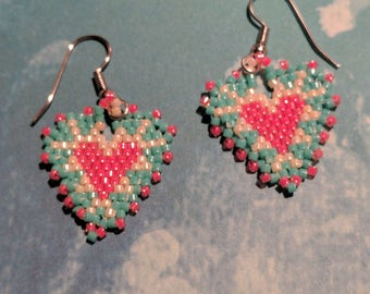 Turquoise and Coral Hearts Beaded Earrings