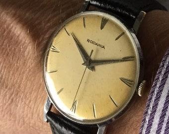 Lovely c1960 Rodania mens vintage dress Swiss watch.
