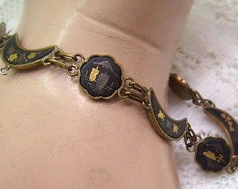 Vintage Japanese Inlaid Damascene Bracelet...Moons...Birds... Pagodas...10 Panels...7 1/2 Inches Long...Delicate Japan Jewelry