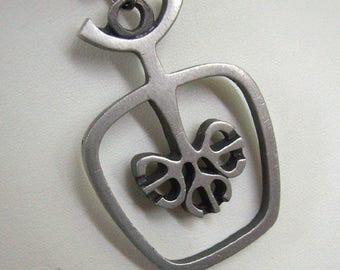 Vintage TYR Sweden Steel/Pewter Pendant...Modernist...Circa 1970s....TYR Abstract Pendant....Sweden