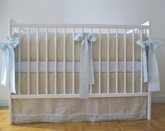 Crib  bedding for a boy - straight skirt, linen crib bedding