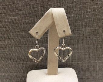 Vintage 925 Sterling Silver Heart Drop Earring!!