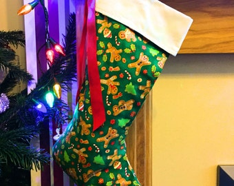 Christmas stocking, holiday stocking, festive stocking, gingerbread man stocking, green stocking