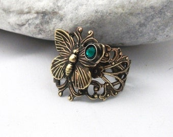 Vintage Style Brass Butterfly Filigree Ring With A Swarovski Emerald Crystal.Art Nouveau Style Butterfly Filigree Ring , Valentine For Her,