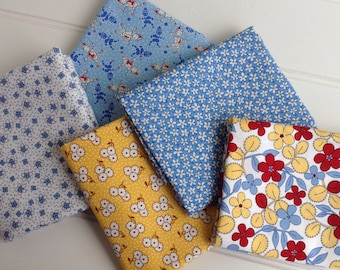 Fabric Bundle: Red, Blue and Yellow 1930's Reproductions