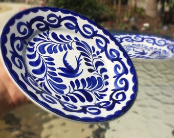 Set of two Talavera hand painted blue plates.
