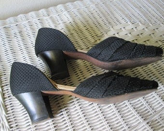 1940s BLACK PEEP TOE Fabric Quilted Slipper Pumps