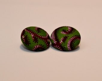 Green Red Swirl Ankara Button Earrings