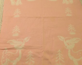 Vintage Deer Baby Blanket Pink White Forest Friends 1960's