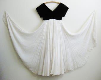 Ivory Silk Chiffon Velvet Evening Gown Mid Century