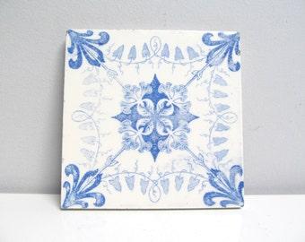 Vintage Ceramic Tile / Trivet, kitchen Tile, fireplace handpainted, delft blue floral swirl motif fleur de lis kitchen Height 4.8 in / 12 cm